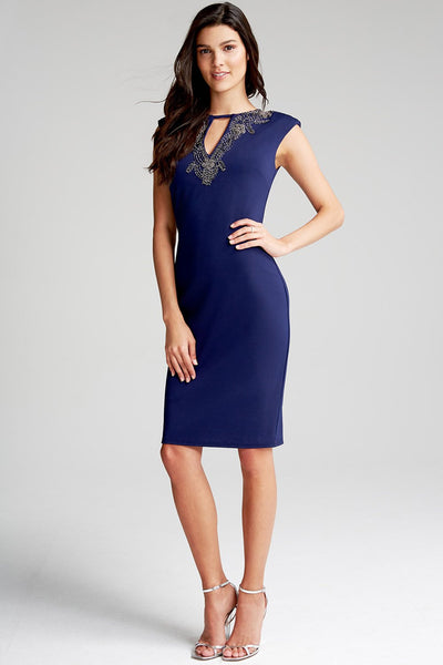 Navy jewel Neckline Dress - LadyVB   s.r.o - 3