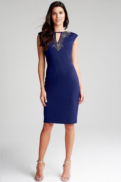 Navy jewel Neckline Dress - LadyVB   s.r.o - 2