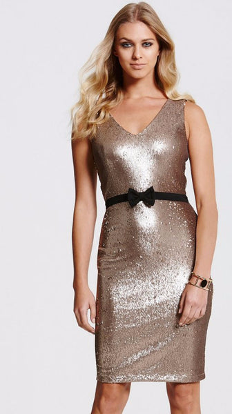 Gold Sequin Bow Dress - LadyVB   s.r.o - 1