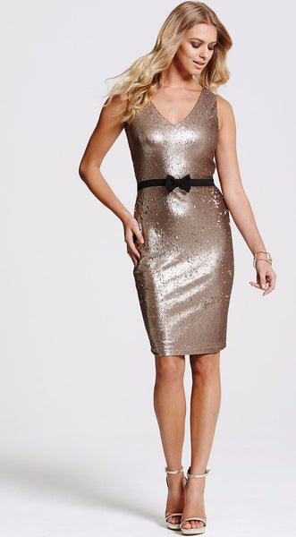 Gold Sequin Bow Dress - LadyVB   s.r.o - 3