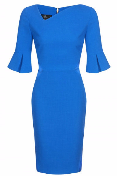 Kimberley Cobalt Dress with Bell sleeve Exposed Back Zip - LadyVB   s.r.o