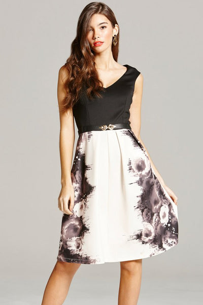 ROSE PRINT FIT AND FLARE DRESS - LadyVB   s.r.o - 4