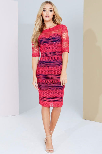 Prue Pink and Navy Crochet Panel Insert Lace Midi Dress - LadyVB   s.r.o - 1