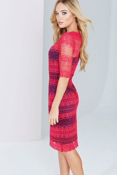 Prue Pink and Navy Crochet Panel Insert Lace Midi Dress - LadyVB   s.r.o - 4
