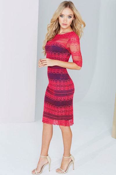 Prue Pink and Navy Crochet Panel Insert Lace Midi Dress - LadyVB   s.r.o - 3