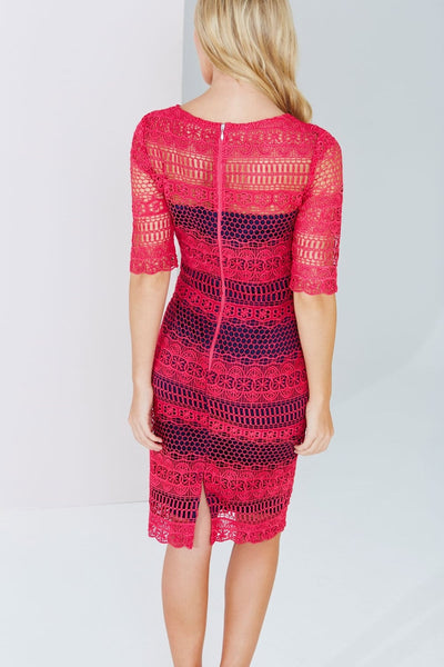 Prue Pink and Navy Crochet Panel Insert Lace Midi Dress - LadyVB   s.r.o - 2