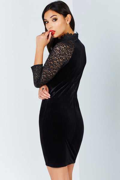 Sia Black Velvet and Lace Dress - LadyVB   s.r.o - 4