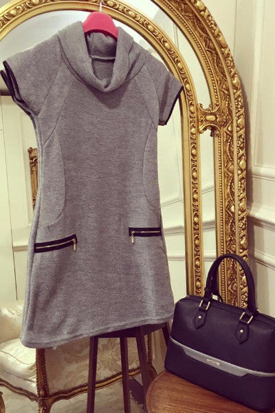 Nellie Grey Roll Neck Tunic Dress - LadyVB   s.r.o - 2
