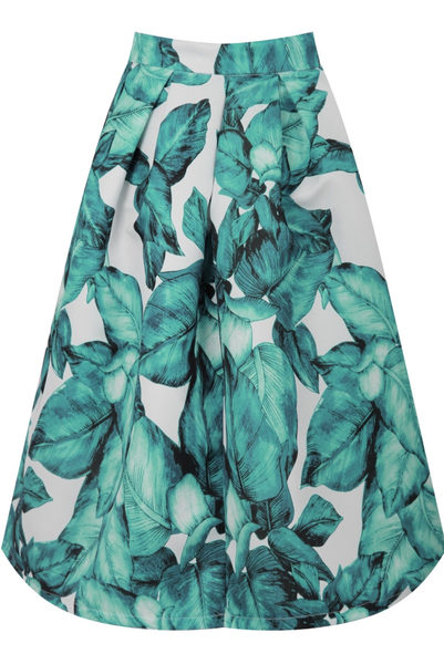 1804 GREEN  LEAF PRINT SKIRT - LadyVB   s.r.o - 3
