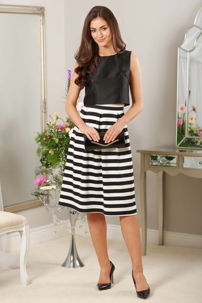 Monochrome Striped Midi Skirt - LadyVB   s.r.o - 1