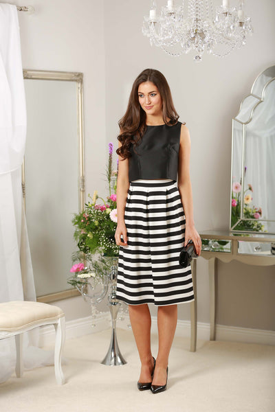 Monochrome Striped Midi Skirt - LadyVB   s.r.o - 3