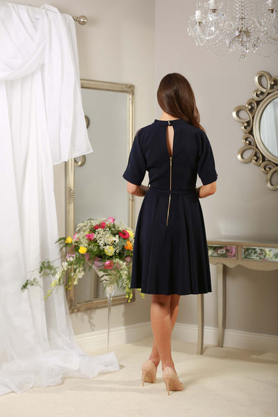 Navy Slit Shoulder Dress - LadyVB   s.r.o - 3
