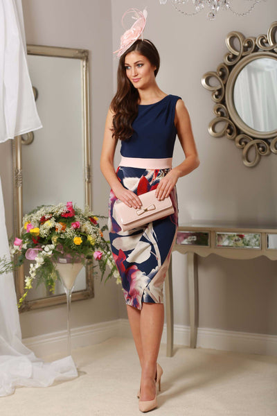 Navy and Pale Pink Floral Frankie Dress - LadyVB   s.r.o - 1