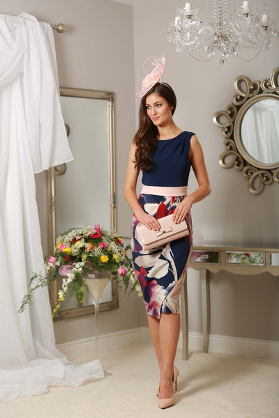 Navy and Pale Pink Floral Frankie Dress - LadyVB   s.r.o - 2