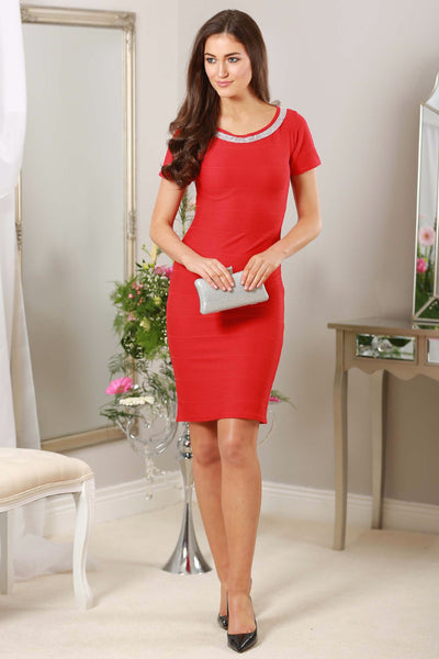 Red Diamond Neckline Dress - LadyVB   s.r.o - 1