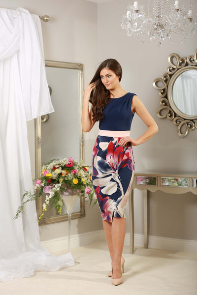 Navy and Pale Pink Floral Frankie Dress - LadyVB   s.r.o - 3