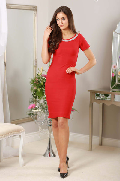 Red Diamond Neckline Dress - LadyVB   s.r.o - 2