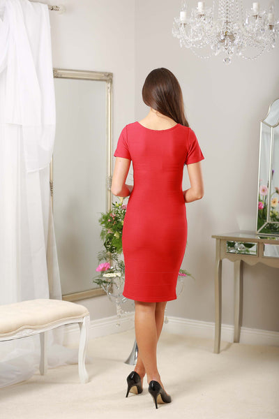 Red Diamond Neckline Dress - LadyVB   s.r.o - 3