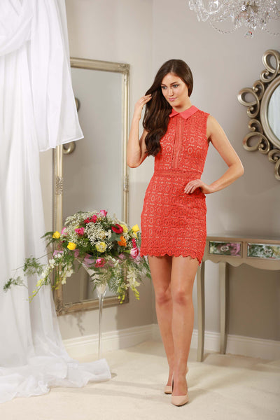 Rouge Red Applique Dress - LadyVB   s.r.o - 4