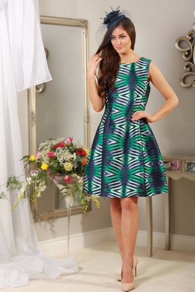 Green and Navy Dress - LadyVB   s.r.o - 1