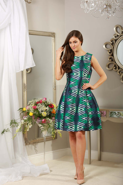 Green and Navy Dress - LadyVB   s.r.o - 3