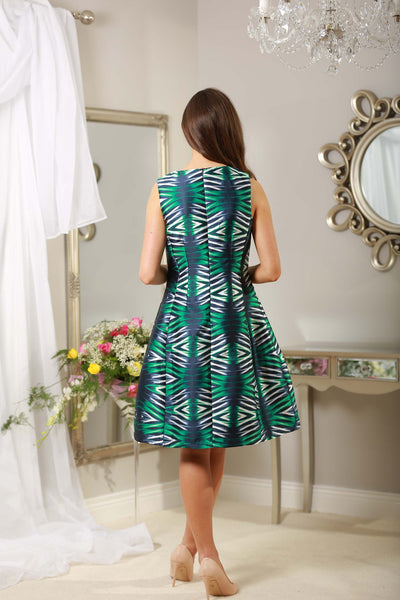 Green and Navy Dress - LadyVB   s.r.o - 2