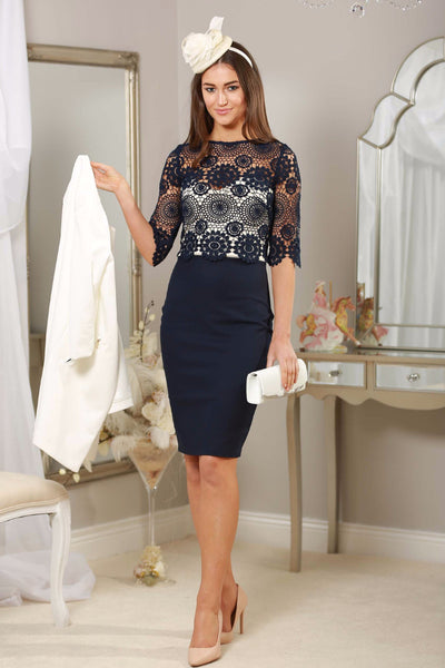 Navy Crochet Dress - LadyVB   s.r.o - 1