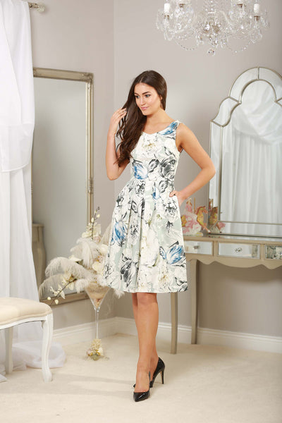 Pale Sage Fit and Flare Dress - LadyVB   s.r.o - 1