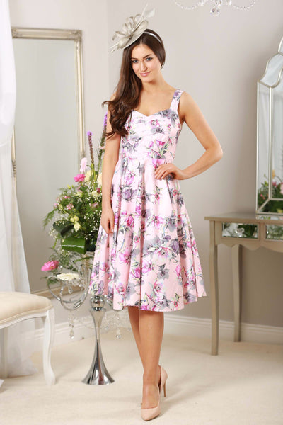 Pink Grey Floral Swing Dress - LadyVB   s.r.o - 1