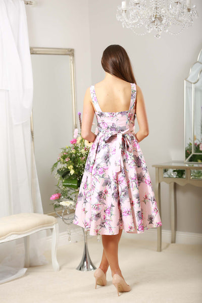 Pink Grey Floral Swing Dress - LadyVB   s.r.o - 2