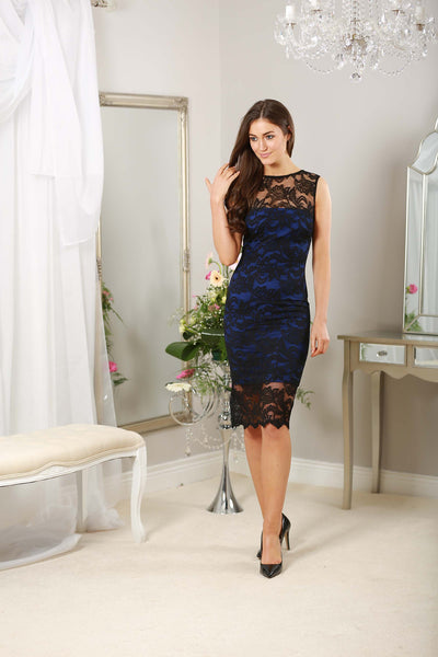 Raven Dress in Cobalt with Scalloped Tropical Lace Overlay Panels - LadyVB   s.r.o - 2