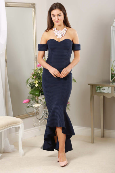Navy Fishtail Dress - LadyVB   s.r.o - 1