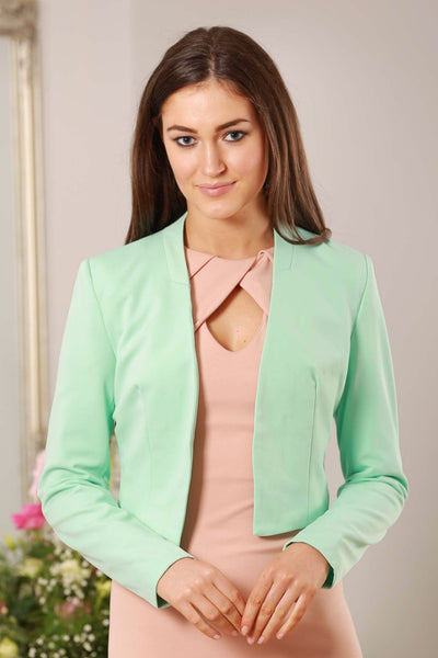 Mint Green V Neck Dress Blazer - LadyVB   s.r.o - 1