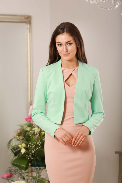Mint Green V Neck Dress Blazer - LadyVB   s.r.o - 2