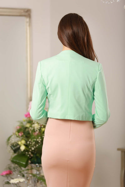 Mint Green V Neck Dress Blazer - LadyVB   s.r.o - 3