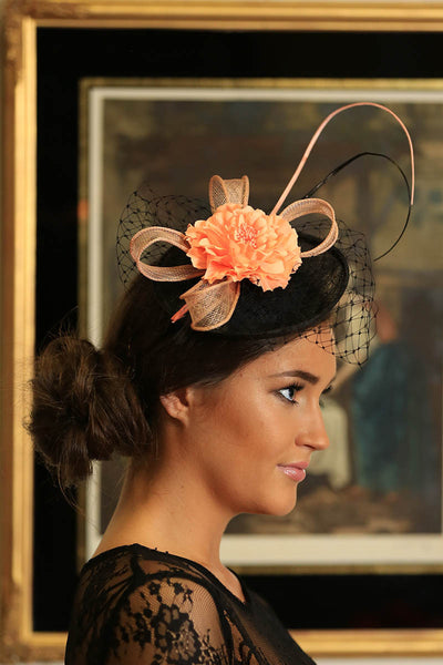 Black /Peach Fascinator - LadyVB   s.r.o - 4