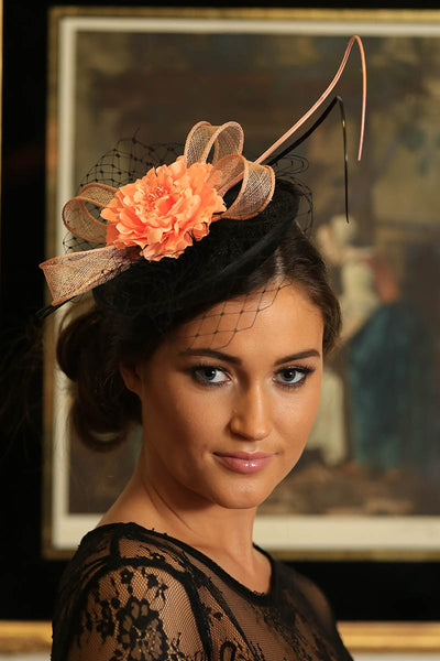 Black /Peach Fascinator - LadyVB   s.r.o - 3