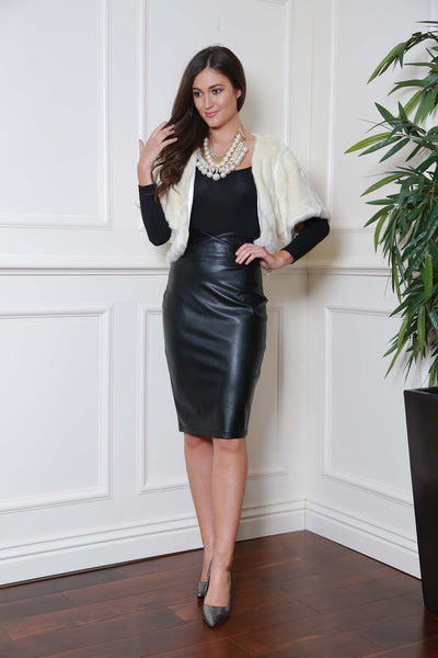 Midi Black Pleather Skirt - LadyVB   s.r.o - 2