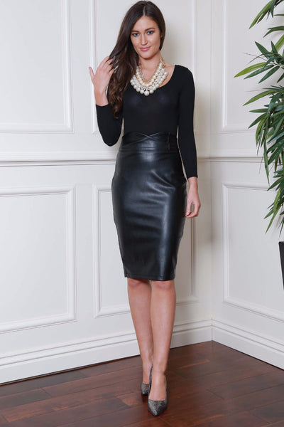 Midi Black Pleather Skirt - LadyVB   s.r.o - 1