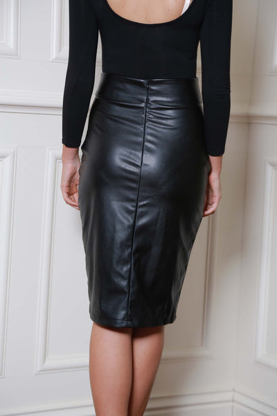 Midi Black Pleather Skirt - LadyVB   s.r.o - 3