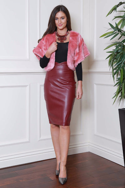 Midi Wine Pleather Skirt - LadyVB   s.r.o - 2