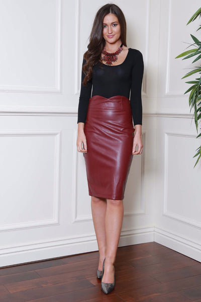 Midi Wine Pleather Skirt - LadyVB   s.r.o - 1