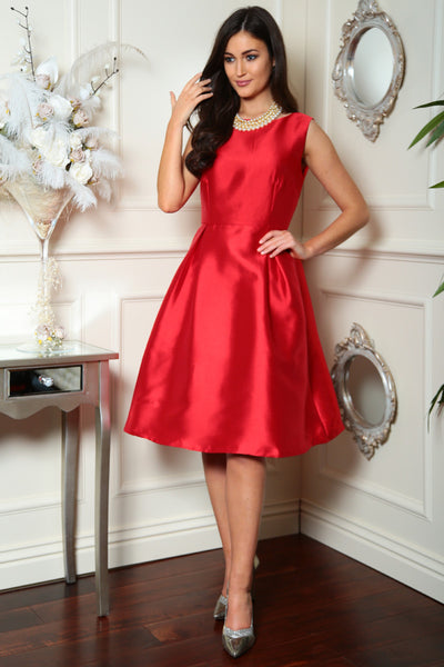 Red Fit and Flare Dress - LadyVB   s.r.o - 1