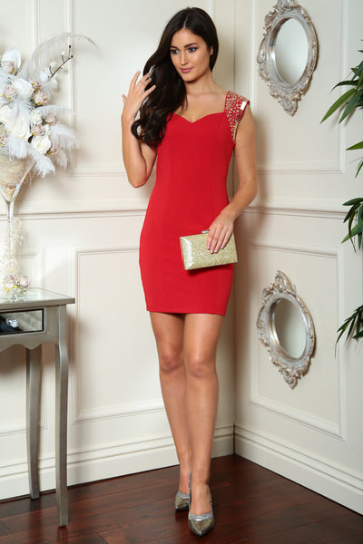 Red Embellished Dress - LadyVB   s.r.o - 1