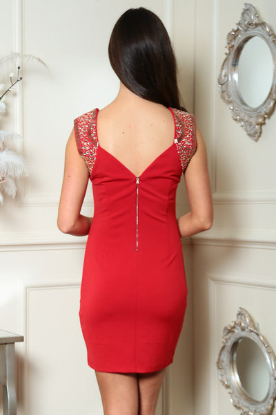 Red Embellished Dress - LadyVB   s.r.o - 4