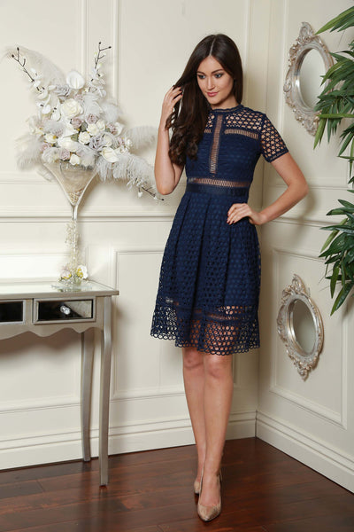 Navy Netted Dress - LadyVB   s.r.o - 1
