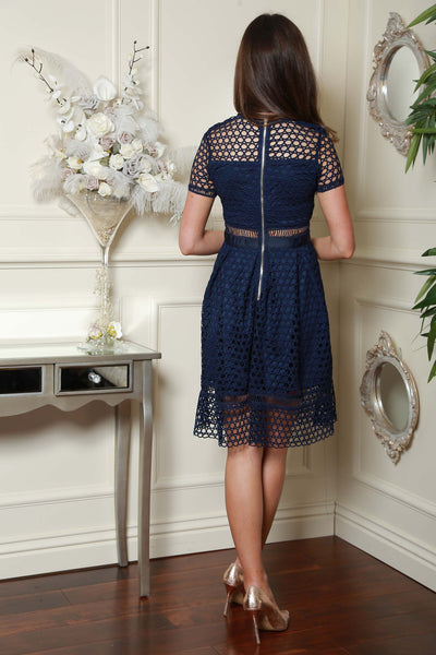 Navy Netted Dress - LadyVB   s.r.o - 2