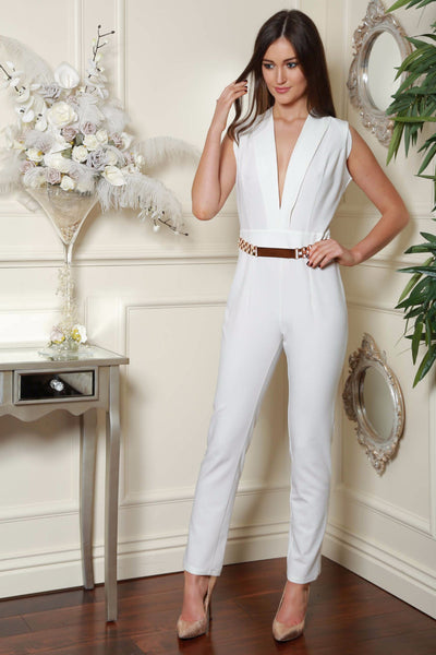 Cream Gold Trim Double Breast Jumpsuit - LadyVB   s.r.o - 1