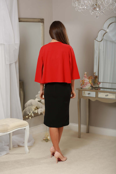 Red Cape Jacket with Side Sleeve - LadyVB   s.r.o - 2