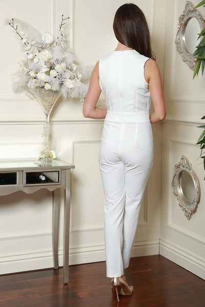 Cream Gold Trim Double Breast Jumpsuit - LadyVB   s.r.o - 3